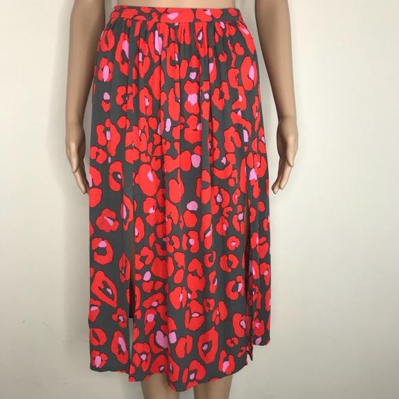 158eba4228 Topshop Skirts | Red Animal Print Midi Skirt Size 2 | Poshmark